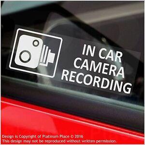 5 x In Car Camera Recording Warning Stickers-CCTV Sign-Van,Taxi,Mini Cab-30mm