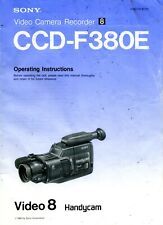 Sony CCD-F380 Camcorder Original Operating Manual User Guide Instructions