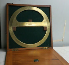 Large Antique Brass Circular Protractor & Wood Case A West & Partner Westminster