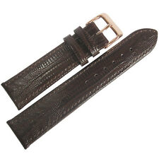 18mm Fluco Brown Teju Lizard-Grain Leather ROSE GOLD Buckle Watch Band Strap Men