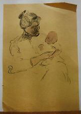 Dessin Original Aquarelle PAUL COUVREUR - Femme et enfant vers 1930- PC32