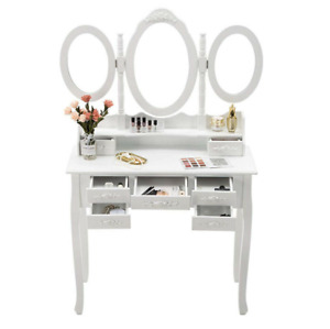 Vanity Makeup Table Set 3 Mirrors 7 Drawers with Stool Dressing Dresser Desk