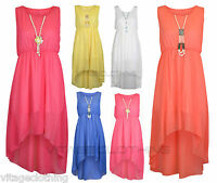 Girls Sleeveless Chiffon Asymmetrical Uneven Hem Dress with Free Pearl Neckless
