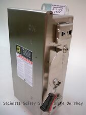 Square D Stainless H221DS 30a 240v 1ph 2 pole Fused Safety Switch Refurbished