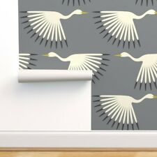 Peel-and-Stick Removable Wallpaper Art Deco Crane Bird Flock Fly Feathers