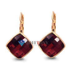 18K Rose Gold Plated Red Crystal Gorgeous Rhombus Shape Dangle Earrings
