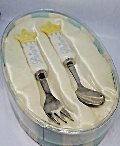 Toddler Fork & Spoon Set Says Prince Has Yellow Crown Mud Pie Box Satin Lining