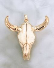 Longhorn Pendant Cow Bull Skull Large Statement Bohemian Boho Chic Holiday Gold