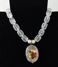 Carved Chinese Mark Rock Crystal Necklace Rose Quartz Gemstone Pendant 925 Clasp