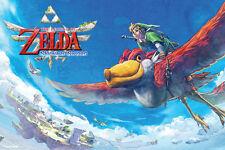 Zelda Skyward Sword Link Flying Loftwing NES Wii Video Game Poster - 18x12