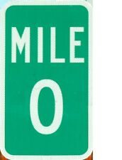 "TIN SIGN ""Mile 0"" Highway   Deco  Garage Wall Decor"