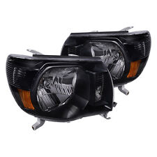 05-10 Toyota Tacoma Single Crew Cab Black Amber Housing Headlights Turn Signals