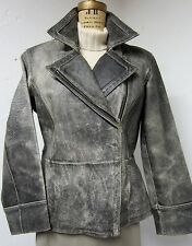 WILSON LEATHER MAXIMA Heavily Distressed Gray Leather Aviator Style Jacket LG