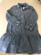 NEW RALPH LAUREN Polo Dress Girls Fine Denim Button Blue Age 6 RRP £75 BNWT