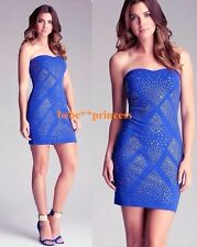 NWT bebe blue stud embellished strapless stretchy bodycon tube top dress S small