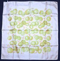 """Dsigner MARC AUREL White Green Orange APPLE Fruits Flowers Twill Silk 32"""" SCARF"""
