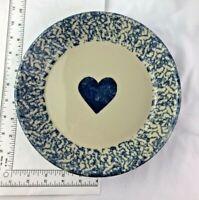 ROSEVILLE HENN POTTERY BLUE PIE PLATE WITH HEART Friendship Pottery