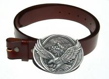 Eagle in Flight Western Removable Belt Buckle Solid Classic Brown Leather Belt