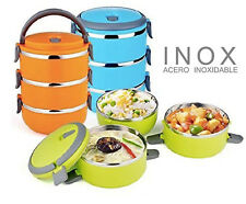 FIAMBRERA 2.1L 3 PISOS LUNCHBOX TUPPERWARE GUARDAR COMIDA ACERO INOXIDABLE