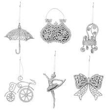 Set 6 Glitter Christmas Tree Hanging Decorations - Girlie Designs - Silver