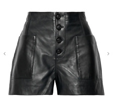 JOIE Leather Shorts Black with pockets Lambskin Soft NIREL - Size 8 - NWT