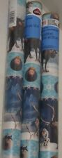 3 NEW Disney Frozen Blue Olaf Christmas Gift Wrapping Paper Rolls = 60sqft