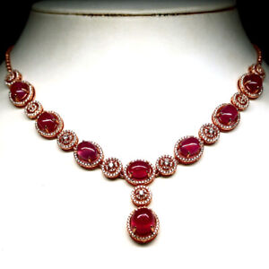 "NATURAL PINK RED RUBY & WHITE CZ NECKLACE 19""  925 STERLING SILVER"