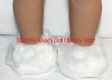 White Fuzzy Button Slippers 18 in Doll Clothes Fits American Girl