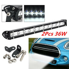 2X 36W SPOT SLIM Bulb LED Single Row Offroad Work Light Bar ATV UTV SUV 13inch