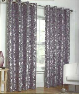 Damask Jacquard Eyelet Fully Lined Curtains Mauve Purple Dorchester