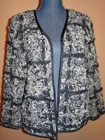 Chico's Silk Blend Mesh/Tulle Tape Ribbon Embellished Open Jacket Size 1 (M)