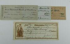 4 1800's Checks NJ & Philadelphia PA 1887