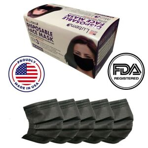 Made in USA 50 PCS Black Color Face Mask Mouth & Nose Protector ASTM LEVEL 3