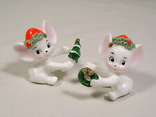 Napco Christmas Mice Figurines,Bone China Mouse Candle Huggers,Napcoware Figures