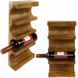 Wooden Wine Rack 4 Bottles Holder Storage Display Solid Mango Wood Wall Mounted