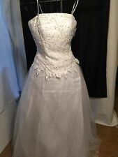 Chicas Formal Tulle Wedding Dress Princess Gown Size S White Beaded Top Queen