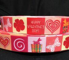 "Grosgrain Ribbon 7/8"" Happy Valentine's Day Hearts V29 100% Polyester USA Seller"
