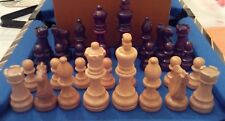 1970's Chess Set 3.5 inch Kings Weighted in Faux Leather Wooden Box No Board
