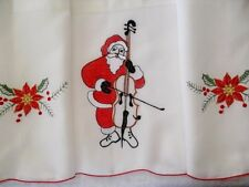 3-Pc CHRISTMAS SANTA Beige Kitchen Window Curtain Set  Drapes Cafe Tier & Swag