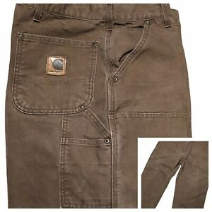 Carhartt B136 Double Front Dungaree Jeans 42 x 30 Union Made USA Brown Vintage