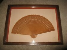 """Ornate carved 8"""" wooden hand fan in 13"""" x 17"""" x 2"""" Shadow Box"""