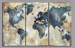 Vintage Blue World Map 3 Pieces Canvas Wall Art Picture Painting Home Decor