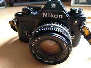 Nikon EM SLR FILM CAMERA w/ Nikon Series E 50mm F/1.8 Lens WORKING