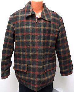 vtg DKNY GREEN WOOL PLAID Hunting Jacket M MED Reversible Orange 90s rare coat