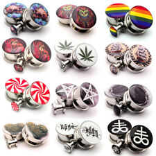 Pair of Screw on Picture Plugs gauges Choose Size and Style 16g thru 1 inch