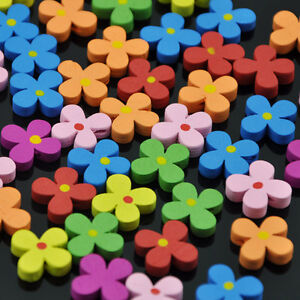 50/100pcs 16*19mm Mix Flowers Wood Buttons one Holes Sewing Crafts WB151