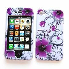 Design Rubberized Hard Case for iPhone 4 / 4S - Artistic Purple Flower