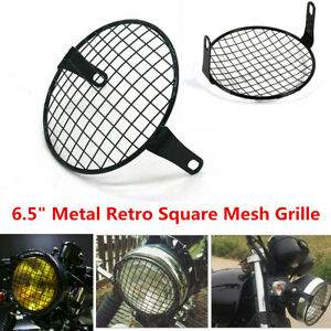 Retro Vintage 6.5inch Metal Mesh Grill For Motorcycle Headlight Lamp Cover Black