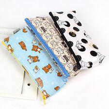 1x Rilakkuma Faux Leather Pencil Case Pen Zip Bag School Stationery Supplies