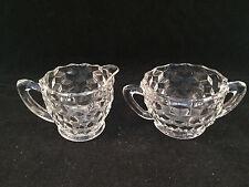 Scalloped Glass Sugar Bowl & Creamer Set